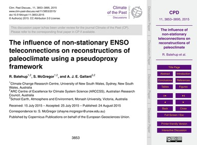 The Influence of Non-stationary Enso Tel... by Batehup, R.