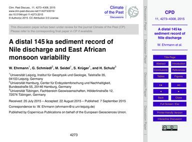 A Distal 145 Ka Sediment Record of Nile ... by Ehrmann, W.