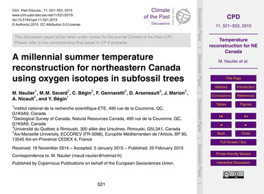 A Millennial Summer Temperature Reconstr... by Naulier, M.