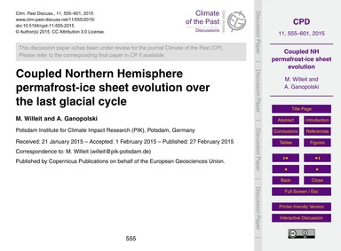 Coupled Northern Hemisphere Permafrost-i... by Willeit, M.