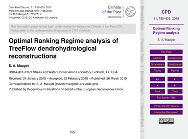 Optimal Ranking Regime Analysis of Treef... by Mauget, S. A.