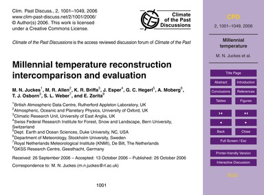 Millennial Temperature Reconstruction In... by Juckes, M. N.