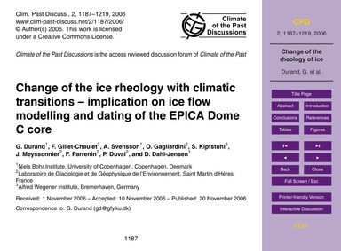 Change of the Ice Rheology with Climatic... by Durand, G.
