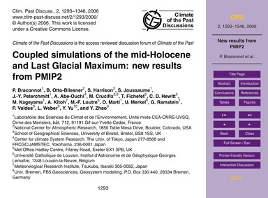 Coupled Simulations of the Mid-holocene ... by Braconnot, P.