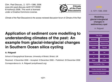 Application of Sediment Core Modelling t... by Ridgwell, A.