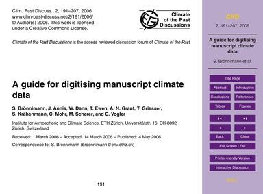 A Guide for Digitising Manuscript Climat... by Brönnimann, S.