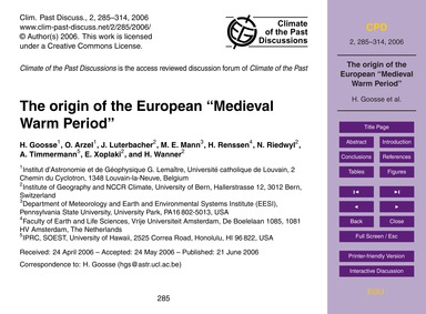 The Origin of the European Medieval Warm... by Goosse, H.