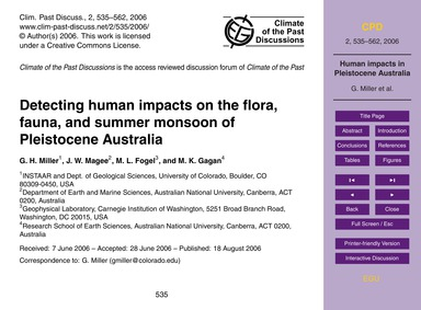 Detecting Human Impacts on the Flora, Fa... by Miller, G. H.