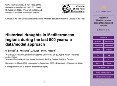 Historical Droughts in Mediterranean Reg... by Brewer, S.