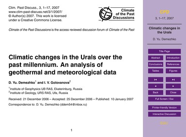 Climatic Changes in the Urals Over the P... by Demezhko, D. Yu.