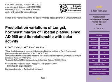 Precipitation Variations of Longxi, Nort... by Tan, L.
