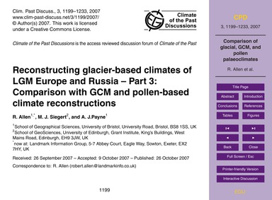 Reconstructing Glacier-based Climates of... by Allen, R.