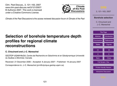 Selection of Borehole Temperature Depth ... by Chouinard, C.