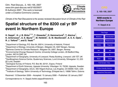 Spatial Structure of the 8200 Cal Yr Bp ... by Seppä, H.