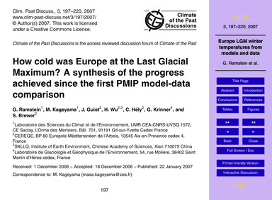How Cold Was Europe at the Last Glacial ... by Ramstein, G.