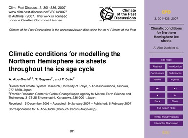Climatic Conditions for Modelling the No... by Abe-ouchi, A.