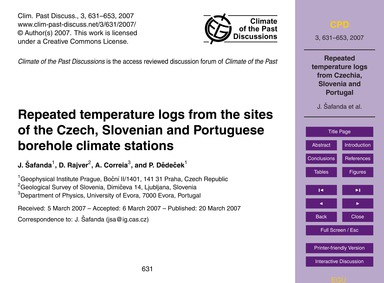 Repeated Temperature Logs from the Sites... by Šafanda, J.