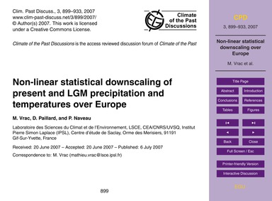 Non-linear Statistical Downscaling of Pr... by Vrac, M.