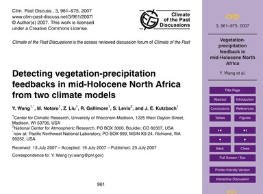 Detecting Vegetation-precipitation Feedb... by Wang, Y.