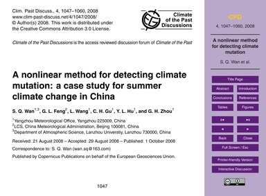 A Nonlinear Method for Detecting Climate... by Wan, S. Q.