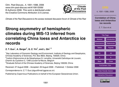 Strong Asymmetry of Hemispheric Climates... by Guo, Z. T.