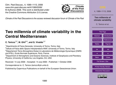 Two Millennia of Climate Variability in ... by Taricco, C.