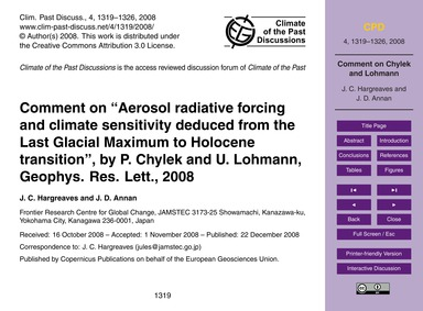 Comment on Aerosol Radiative Forcing and... by Hargreaves, J. C.