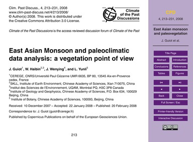 East Asian Monsoon and Paleoclimatic Dat... by Guiot, J.
