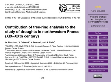 Contribution of Tree-ring Analysis to th... by Planchon, O.