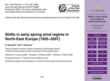 Shifts in Early Spring Wind Regime in No... by Keevallik, S.