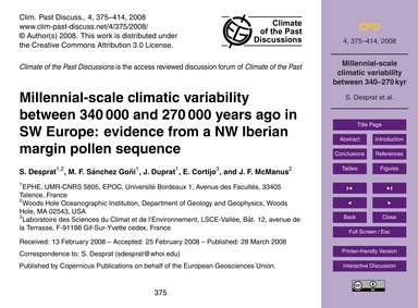 Millennial-scale Climatic Variability Be... by Desprat, S.