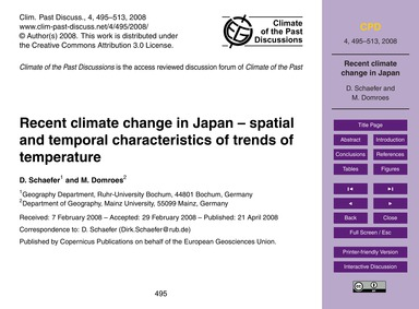 Recent Climate Change in Japan – Spatial... by Schaefer, D.