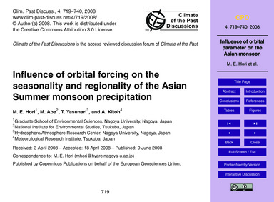 Influence of Orbital Forcing on the Seas... by Hori, M. E.