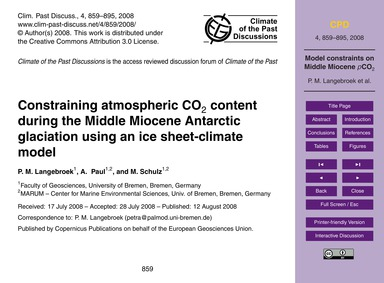 Constraining Atmospheric Co2 Content Dur... by Langebroek, P. M.