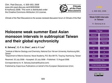 Holocene Weak Summer East Asian Monsoon ... by Selvaraj, K.