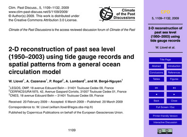 2-d Reconstruction of Past Sea Level (19... by Llovel, W.