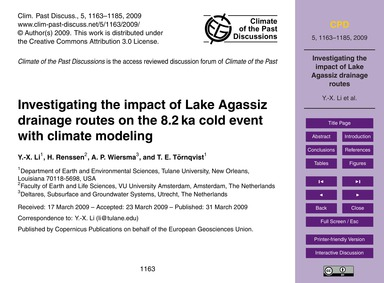 Investigating the Impact of Lake Agassiz... by Li, Y.-x.