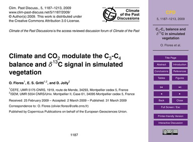 Climate and Co2 Modulate the C3-c4 Balan... by Flores, O.