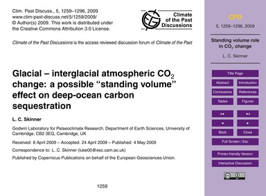 Glacial – Interglacial Atmospheric Co2 C... by Skinner, L. C.