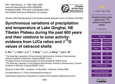 Synchronous Variations of Precipitation ... by Zhu, Z.