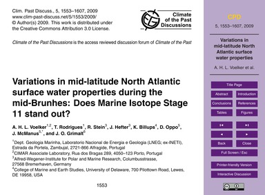 Variations in Mid-latitude North Atlanti... by Voelker, A. H. L.