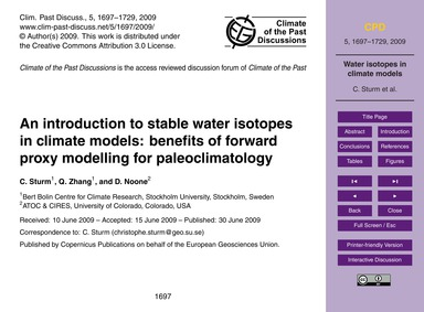 An Introduction to Stable Water Isotopes... by Sturm, C.