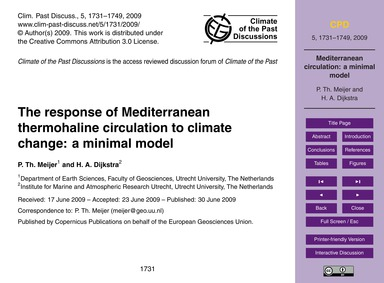 The Response of Mediterranean Thermohali... by Meijer, P. Th.