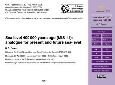 Sea Level 400 000 Years Ago (Mis 11): An... by Bowen, D. Q.