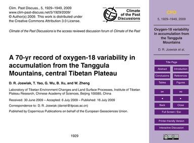 A 70-yr Record of Oxygen-18 Variability ... by Joswiak, D. R.