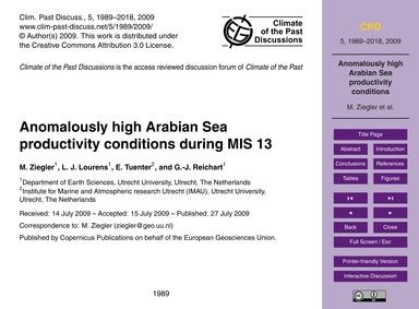 Anomalously High Arabian Sea Productivit... by Ziegler, M.