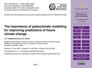 The Importance of Paleoclimate Modelling... by Hargreaves, J. C.