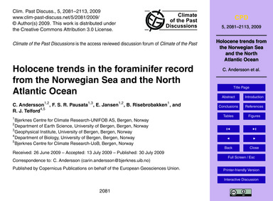 Holocene Trends in the Foraminifer Recor... by Andersson, C.