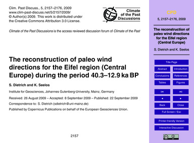 The Reconstruction of Paleo Wind Directi... by Dietrich, S.