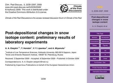 Post-depositional Changes in Snow Isotop... by Ekaykin, A. A.